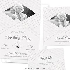 Elegant and timeless photo party invitation featuring a beautiful letterpress effect. The design comes complete with invitation, save the date card and thank you card, perfect for when you need your event to match seamlessly #birthdayparty #partyinvitatio