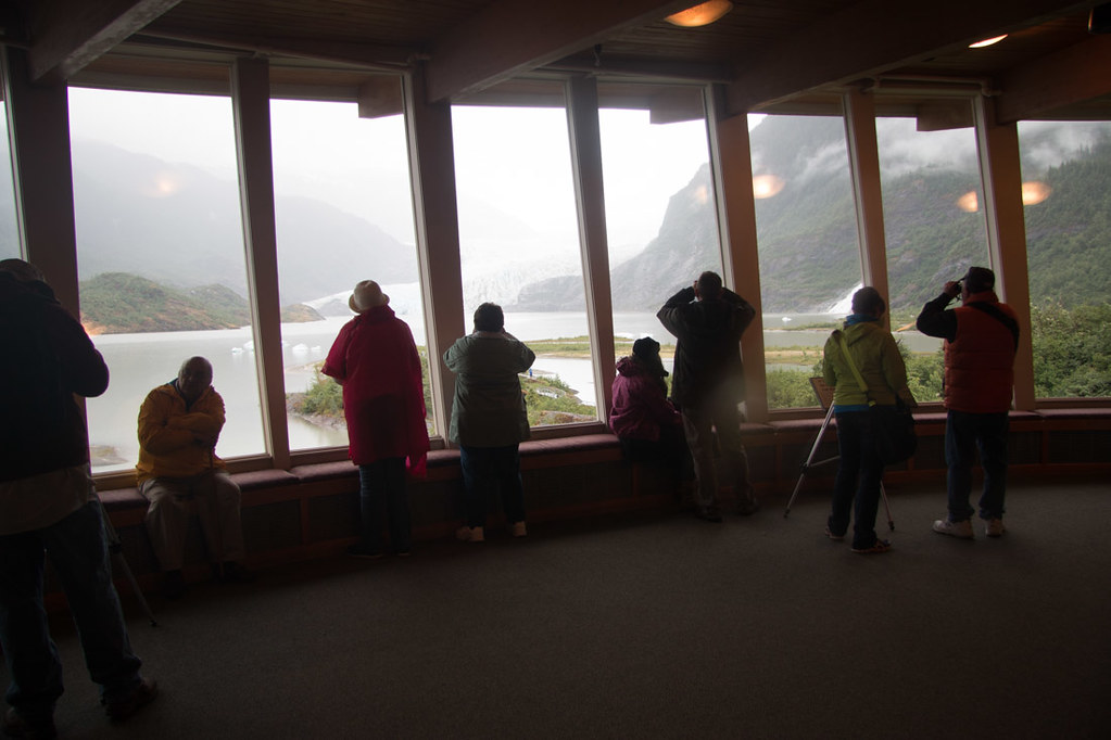 Mendenhall glacier view from inside the visitor's center