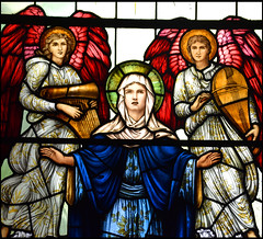 Magnificat: Blessed Virgin and two Burne Jones angel musicians (WH Knight for William Morris workshop, 1937)