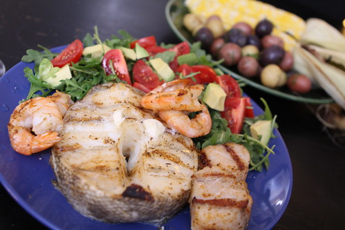 Grilled Chilean Sea Bass, Shrimp, and Sea Scallops with Arugula Salad, Buttered Pee Wee Potatoes with Dill, and Grilled Corn