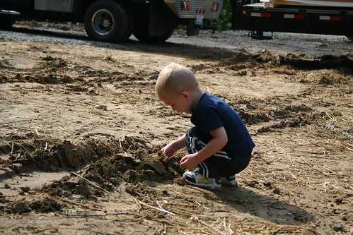 Easton Barnett at the site of his new home. USDA Photos.