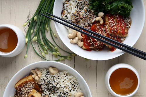 Quick and Easy Tofu, Kale and Ramen Noodle Bowl