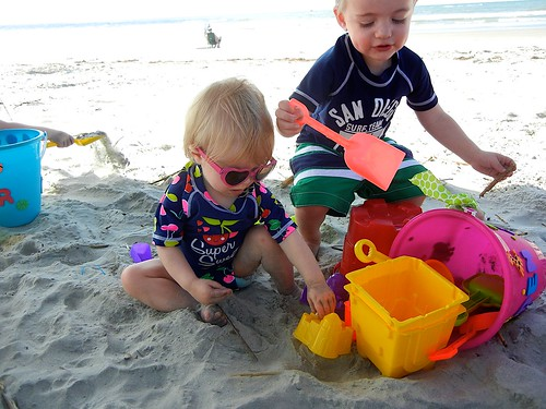 Playing with cousins in the sand!