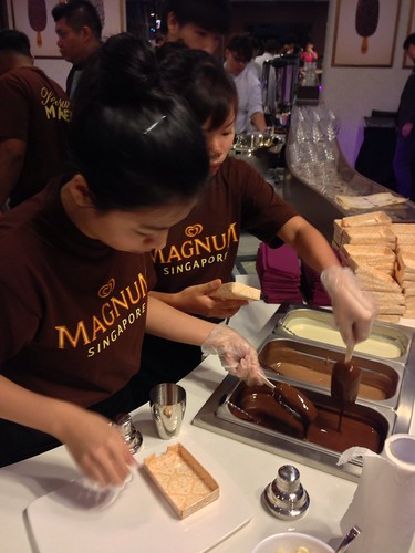 Dipping our Magnums in Dark Chocolate Coating