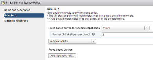 VM storage policy for VSAN