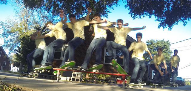 Philip on His Skateboard