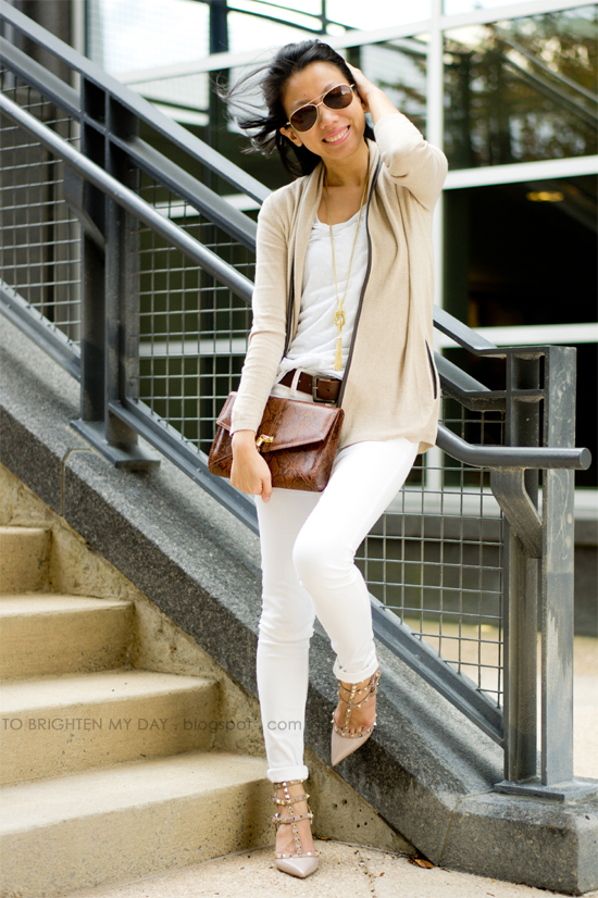 camel open cardigan, white tee, white jeans