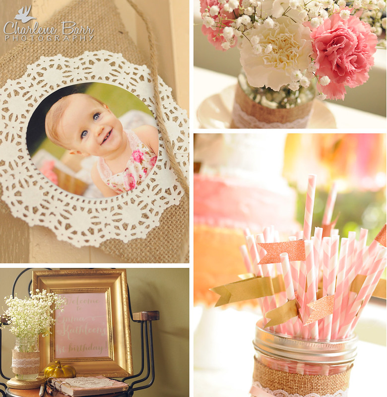 Vintage Rustic Burlap Lace First Birthday Party;  fall pink and gold shabby chic birthday party