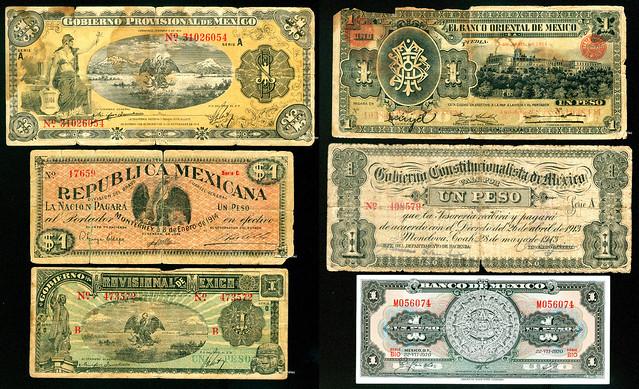 Billetes de un peso mexicano