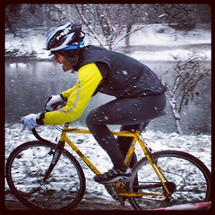 A pic of the #cx race in villafranca, under the #snow hard but funny in the end! #cyclocross #ciclismi #10cento