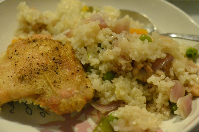 Daisybutter - UK Style and Fashion Blog: Cook Club, winter home cooking, belleau kitchen, oven-baked chicken thigh risotto