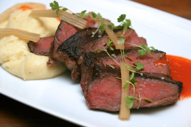 Sous vide wagyu rump, with truffle mash, celery and carrot jus