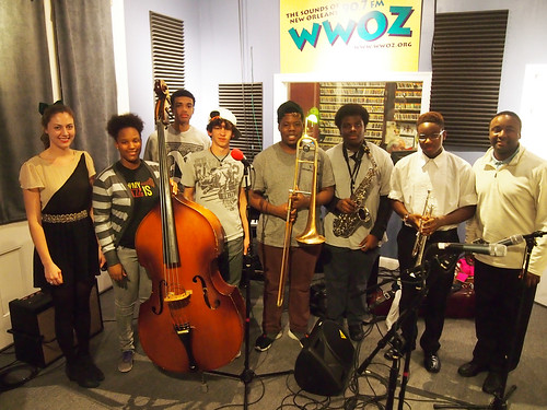 Katie DeBruhl of NOJO, Ariyan Brister (bass), Alphonse Waples (drums), Victor Flint (piano), Jeffery Miller (trombone), Brandon Shelton (sax), Keith Hart (trumpet), Keith Hart Sr (program director): NOJO Student Ambassadors at WWOZ for Cuttin' Class.