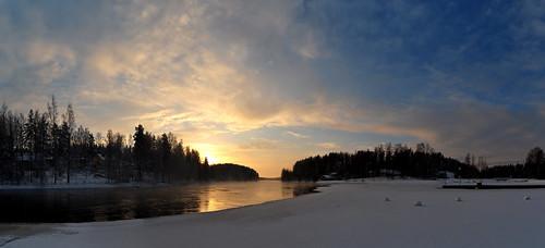 winter panorama snow cold nature water sunrise landscape frozen jyväskylä vaajakoski