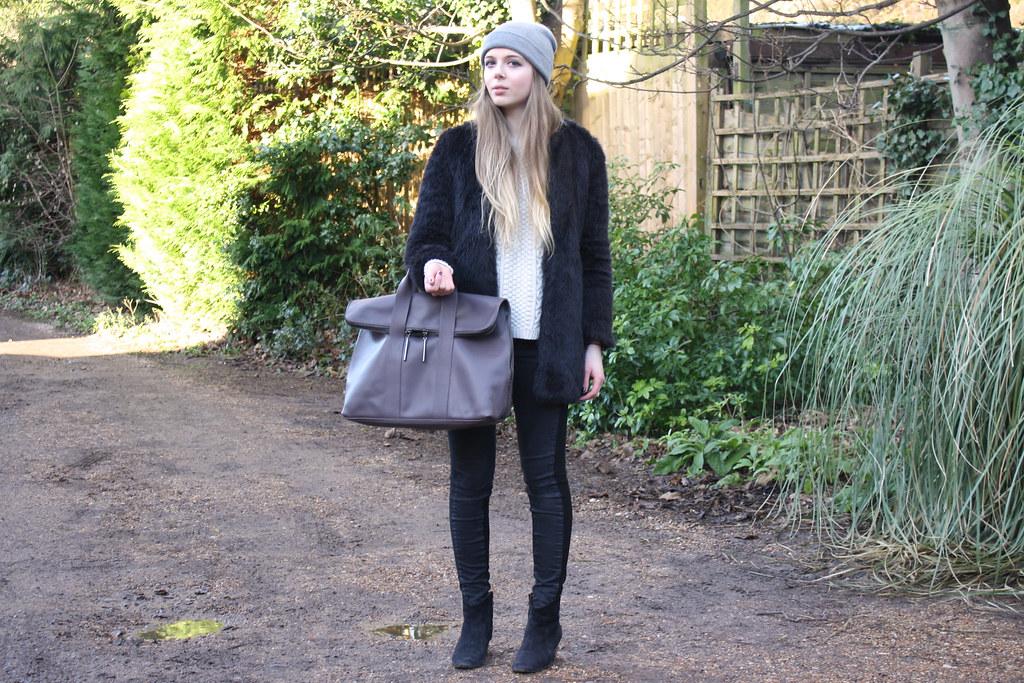 Zara black faux fur coat