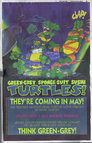 "GREEN-GREY SPOONGE-SUIT SUSHI TURTLES :: ""THEY'RE COMING IN MAY!""  (( 1990 ))"
