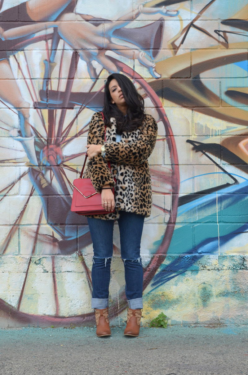 florenciablog coat animal print and total look denim redboxbag  (4)