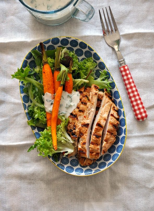 Grilled Garlic & Buttermilk Chicken Salad with Buttermilk-Tahini Dressing