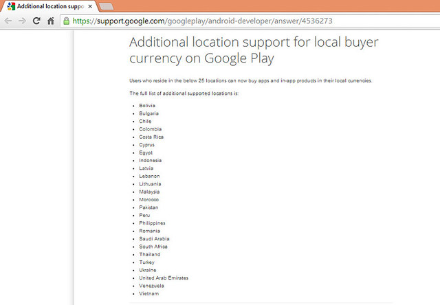 25 Additional location support for local buyer currency on Google Play