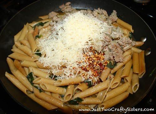Penne pasta with spinach and sausage recipe