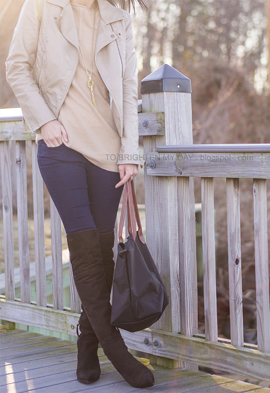 leather jacket, camel sweater, brown suede over the knee boots