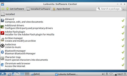 Lubuntu Software Center showing Installed Software