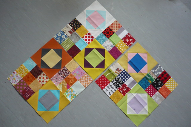 my first 3 March Queen blocks together ...
