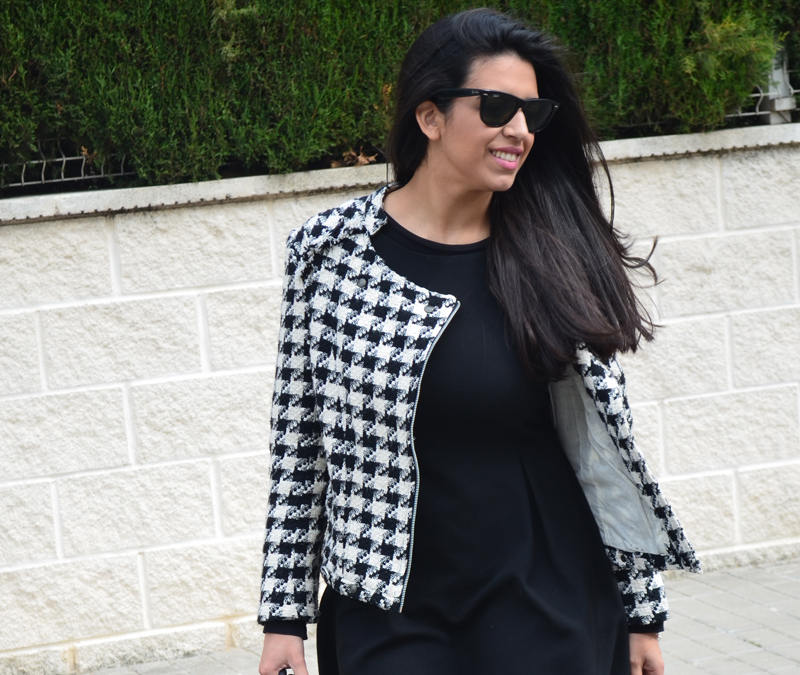 florenciablog tweedjacket estampado pata de gallo little black dress LBD mocasines zara (13)