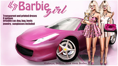 LEGENDAIRE BARBIE GIRL SPECIAL PACK (dress, acessories, car and pet)