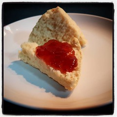 Fresh scones with jam on a Saturday morning...