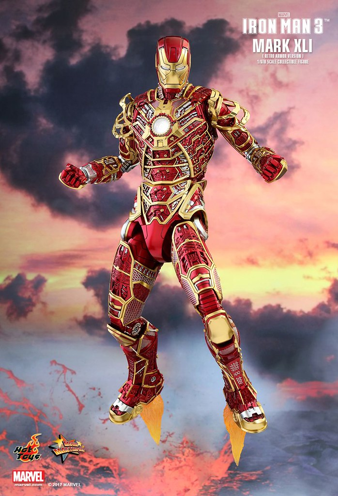 "Hot Toys MMS412《鋼鐵人3》1/6比例 鋼鐵人馬克41""鬼骨"" (經典配色版)  MARK XLI BONES (RETRO ARMOR VERSION)"