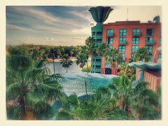 stylized photo of view from the Dolphin hotel Disney