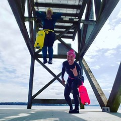 Love this picture of buoy Babes from Seattle Washington 💛💗 (at Windermere Beach Club) . . #Repost @kmncurtis with @repostapp ・・・ What happens when you #lookup and discover a pull-up bar on your dock!  Pre-swim fun!! :stuck_out_tong