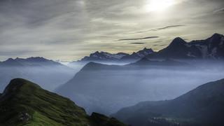 Morning Mood  over Bernese Alps (Hiking-Tour Mürren - Lobhornhütte - Schwalmere - Kiental)
