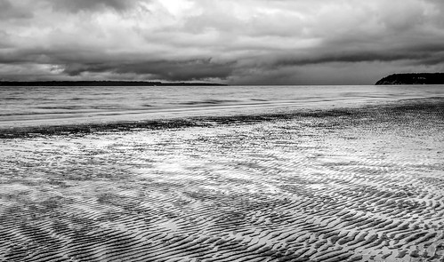 picnicpoint edmonds washington unitedstates us stormclouds shoreline ripples lowtide blackandwhite naturalpattern longexposure trinterphotos