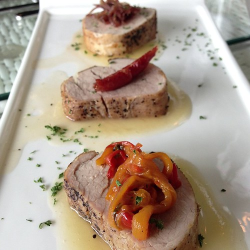 #Somersby Three Little Pigs - trio of pan roasted pork tenderloin with roasted capsicum, prosciutto wrapped asparagus & onion confit with balsamic vinegar & topped with Somersby Apple #Cider sauce.