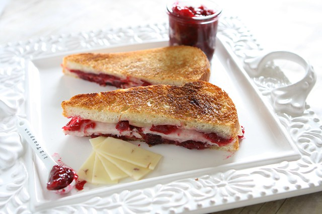Turkey and Cranberry Grilled Cheese |The Hungry Housewife