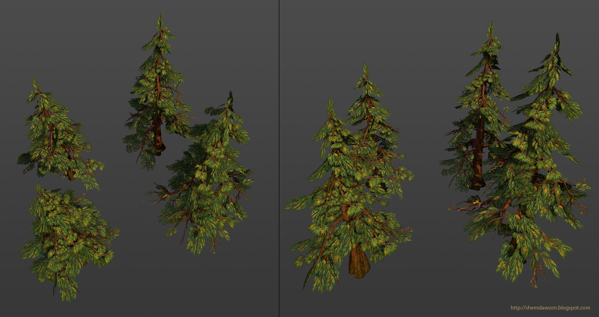 Painted Low Poly Pine Trees