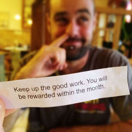 Took the mister out for Pad Thai to celebrate his newly minted business license and he got this for his #fortunecookie! #synchronicity #hesakeeper #distinctivecarpentryllc