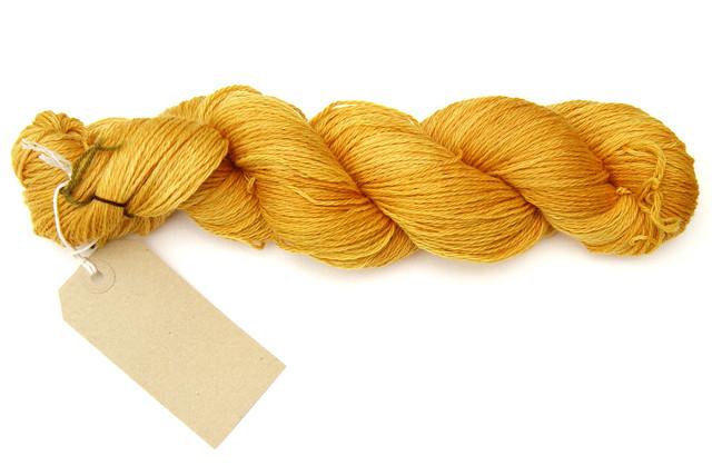 Merino blend hand-dyed sock yarn (Golden Yellow – onion skin natural dye)