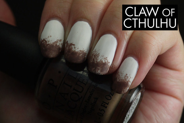 Sally Hansen Complete Salon Manicure White Out Swatch (with sponged OPI You Don't Know Jacques! tips)