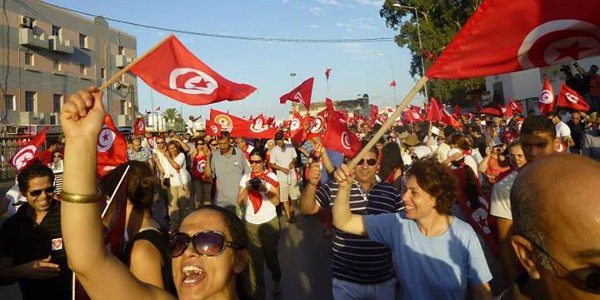 Protesters during Tunisian Women's Day, 2013. Photo credit: Tristan Dreisbach, Tunisia Live