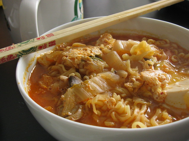Soft tofu stew with noodles