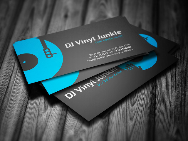 Vinyl DJ Business Card Template DesignDJ Promotional Print - Dj business card template