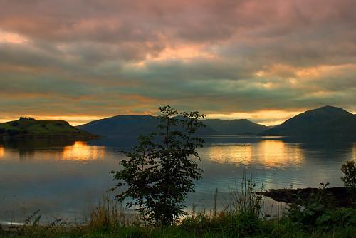 uk sunset evening scotland sundown lochlinnhe