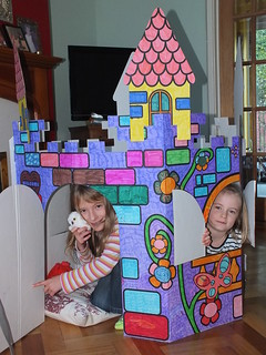 Colouring cardboard castles