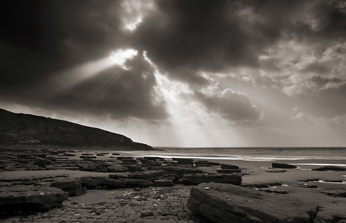 autumn light sea blackandwhite bw sun seascape storm beach weather southwales clouds mono coast sand nikon rocks waves depression seashore southerndown dunravenbay d7100