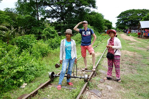 Watching out for approaching traffic...Bamboo Train in Battambang, Cambodia