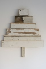 wood & wool white x-mas tree seven