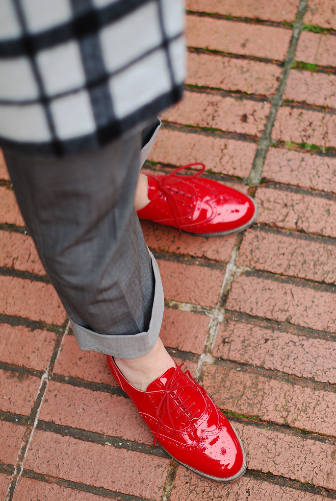 Red patent brogues
